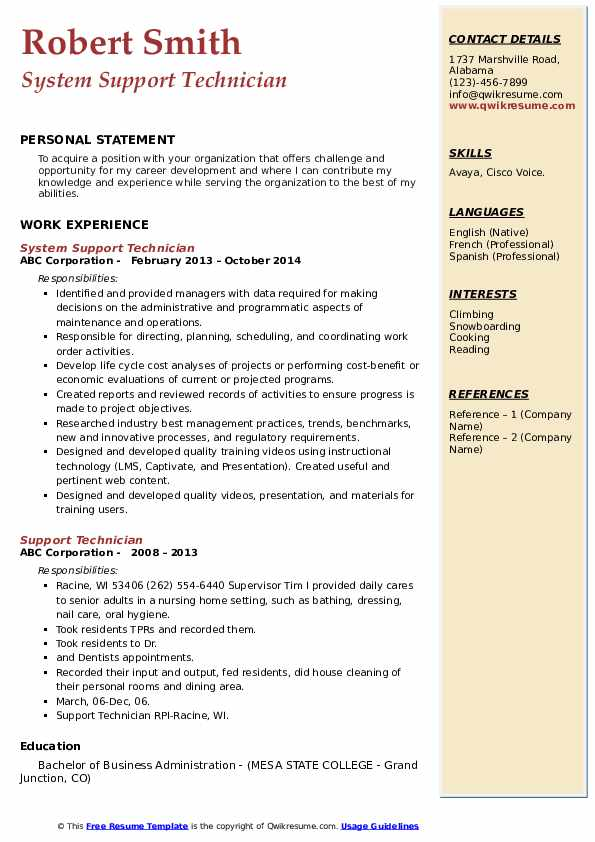 System Support Technician Resume Model