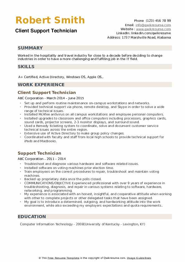Client Support Technician Resume Model