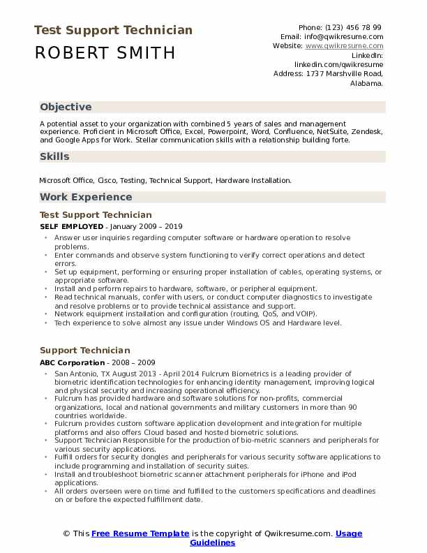 Test Support Technician Resume Example