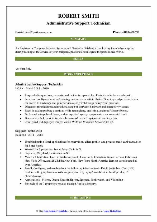 Administrative Support Technician Resume Template