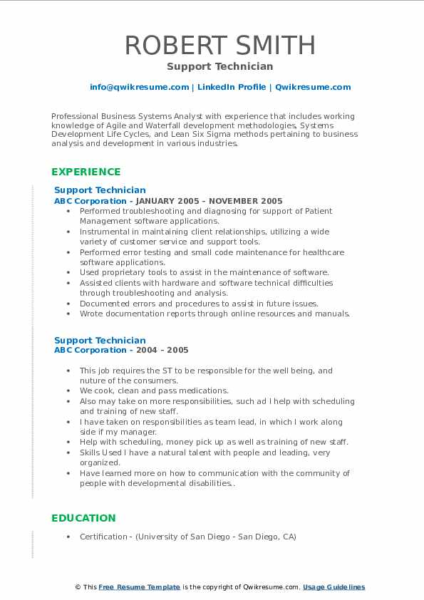 Support Technician Resume example
