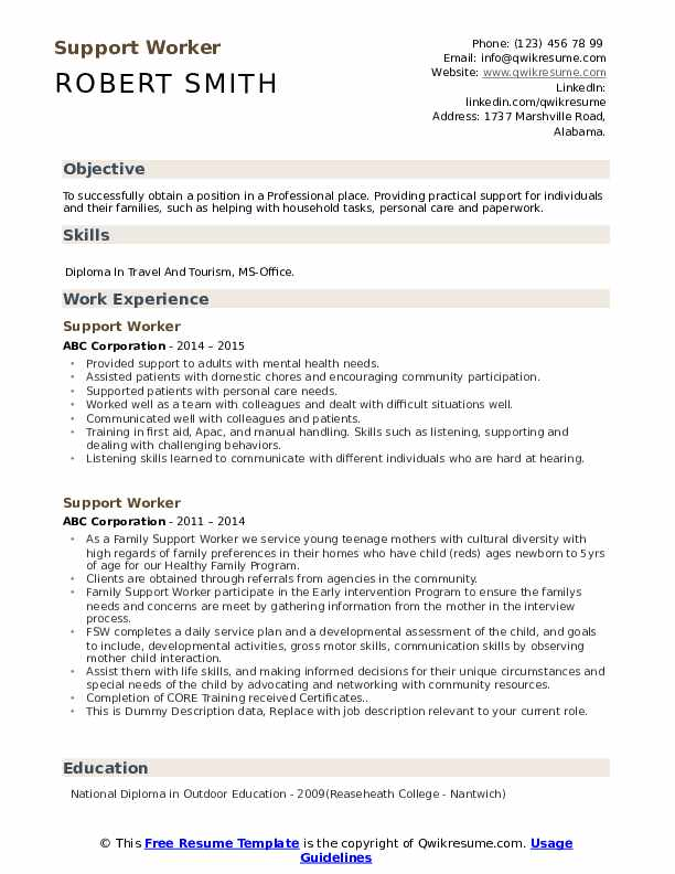 Support Worker Resume example