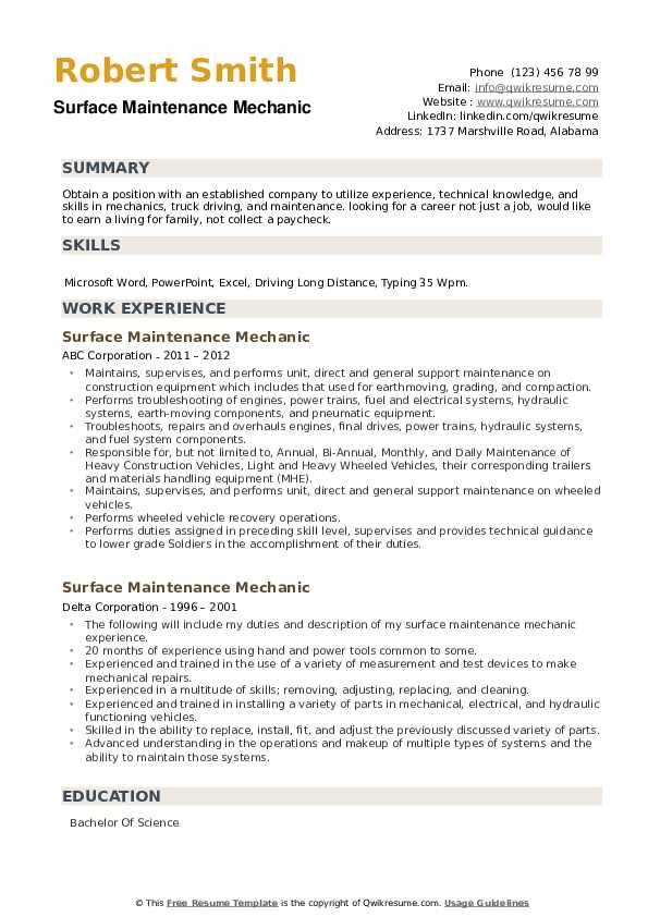 Surface Maintenance Mechanic Resume example