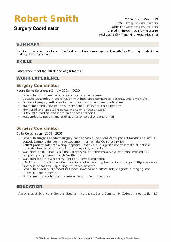 Surgery Coordinator Resume example