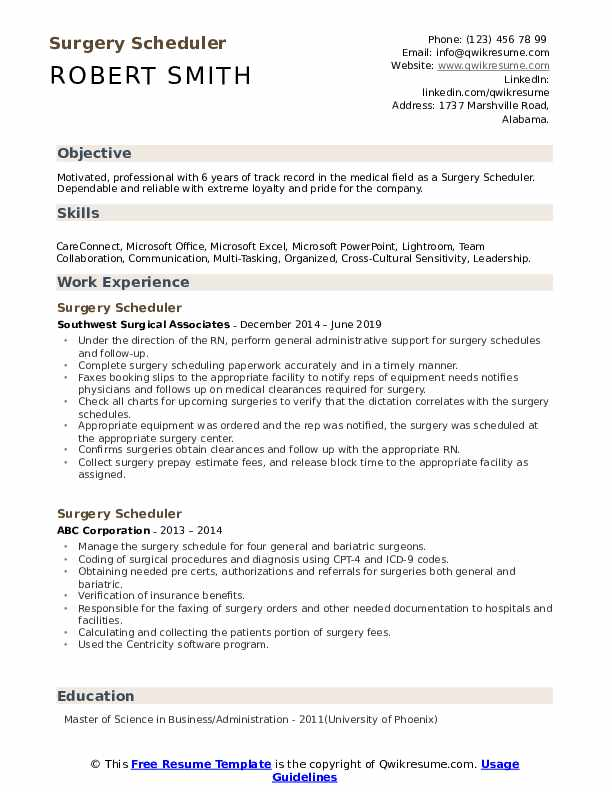 Surgery Scheduler Resume Format