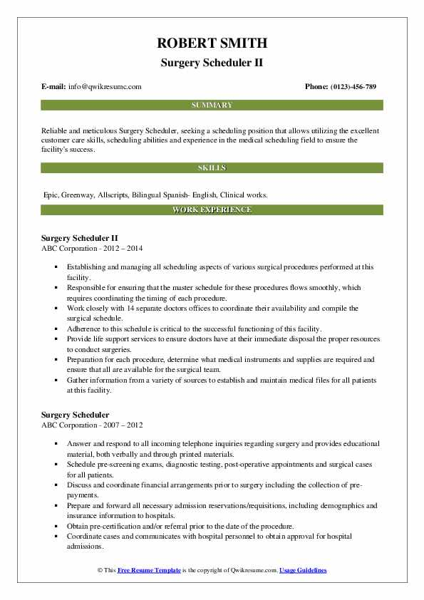 Surgery Scheduler II Resume Example