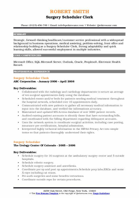 Surgery Scheduler Clerk Resume Format