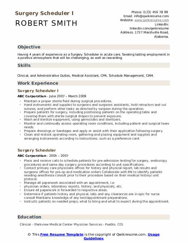 Surgery Scheduler I Resume Template