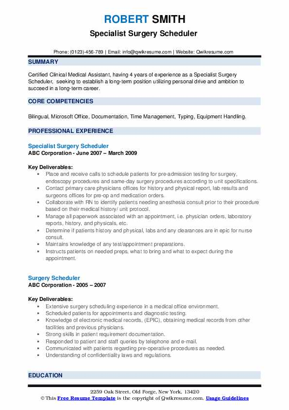 Specialist Surgery Scheduler  Resume Sample