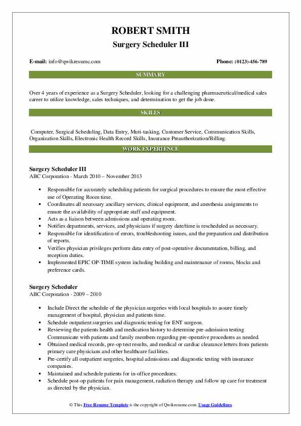 Surgery Scheduler III Resume Format