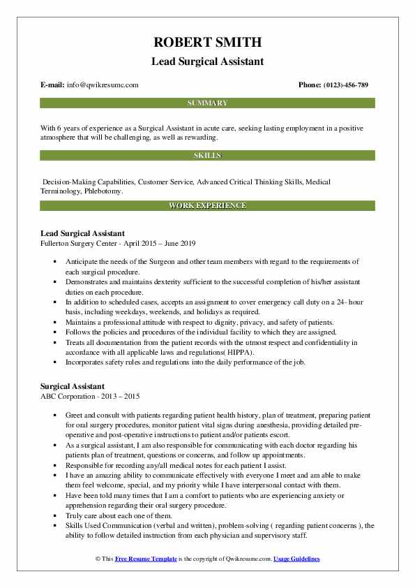 Lead Surgical Assistant Resume Example