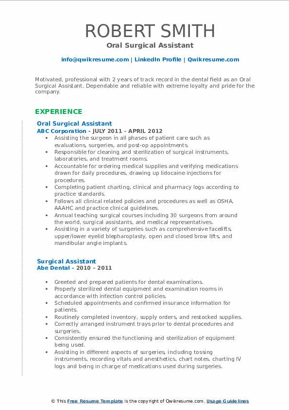 Oral Surgical Assistant Resume Template
