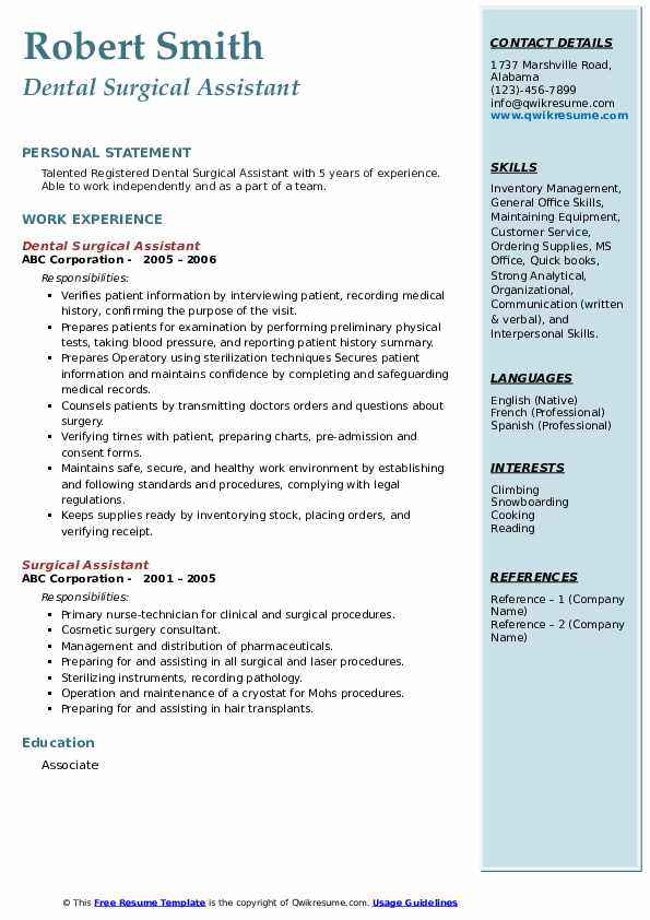 Dental Surgical Assistant Resume Format
