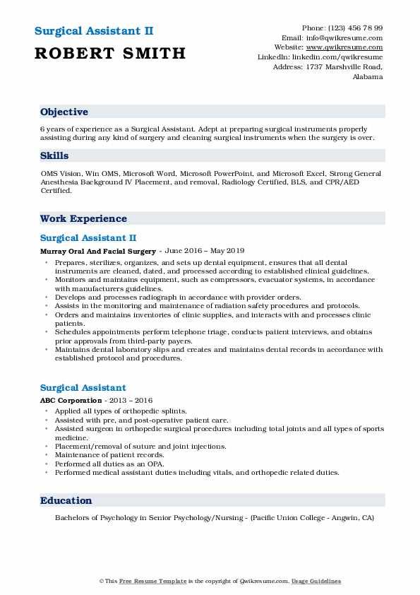 Surgical Assistant II Resume Model