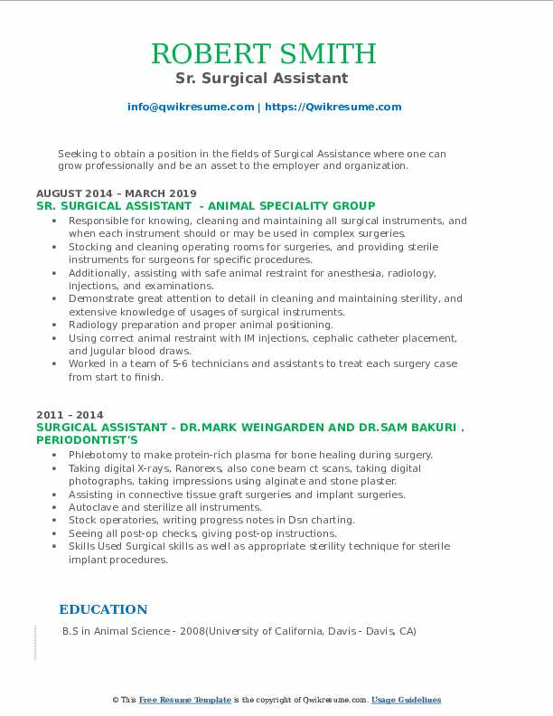 Sr. Surgical Assistant  Resume Sample