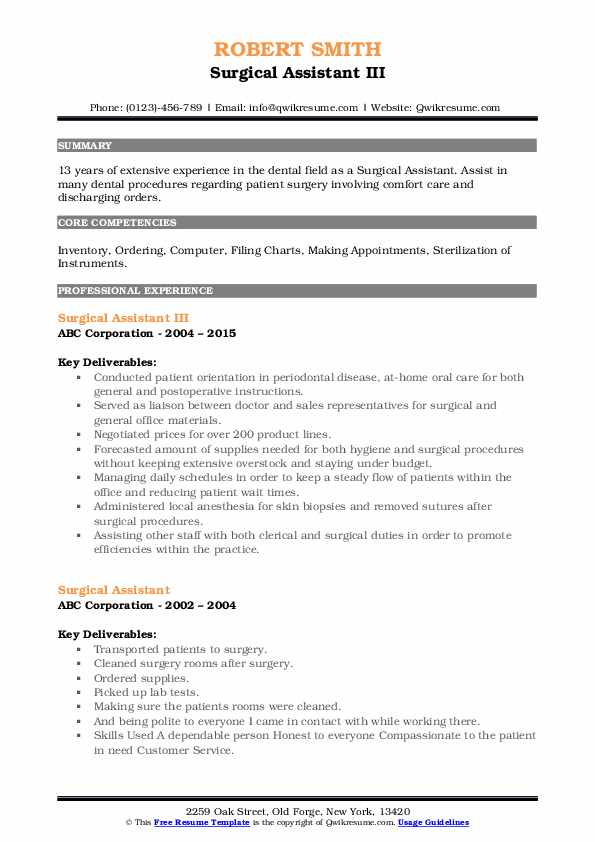 Surgical Assistant III Resume Sample
