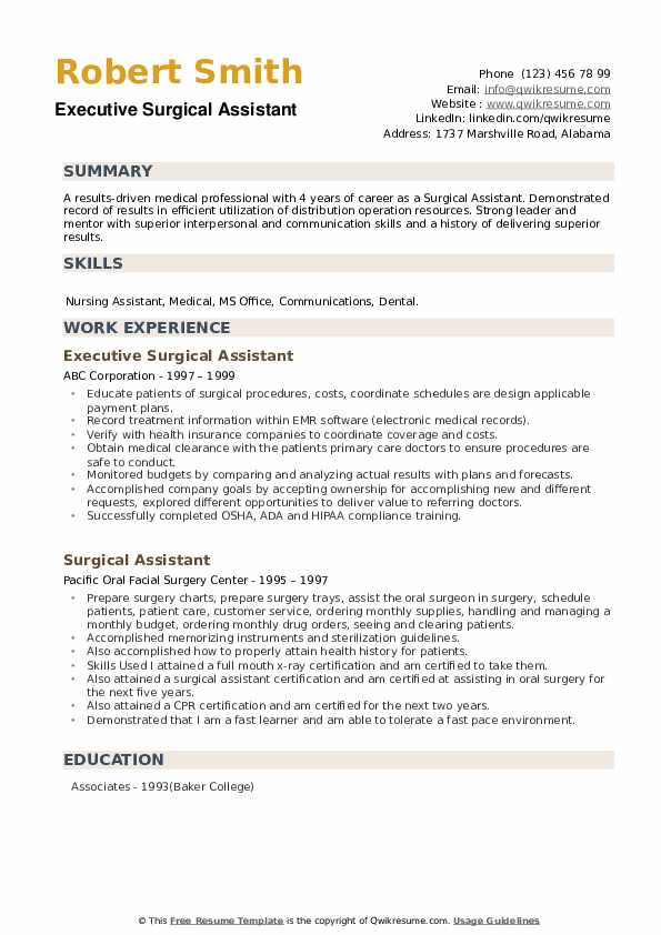 Executive Surgical Assistant Resume Example