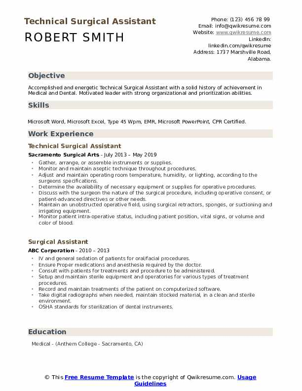Technical Surgical Assistant Resume Template