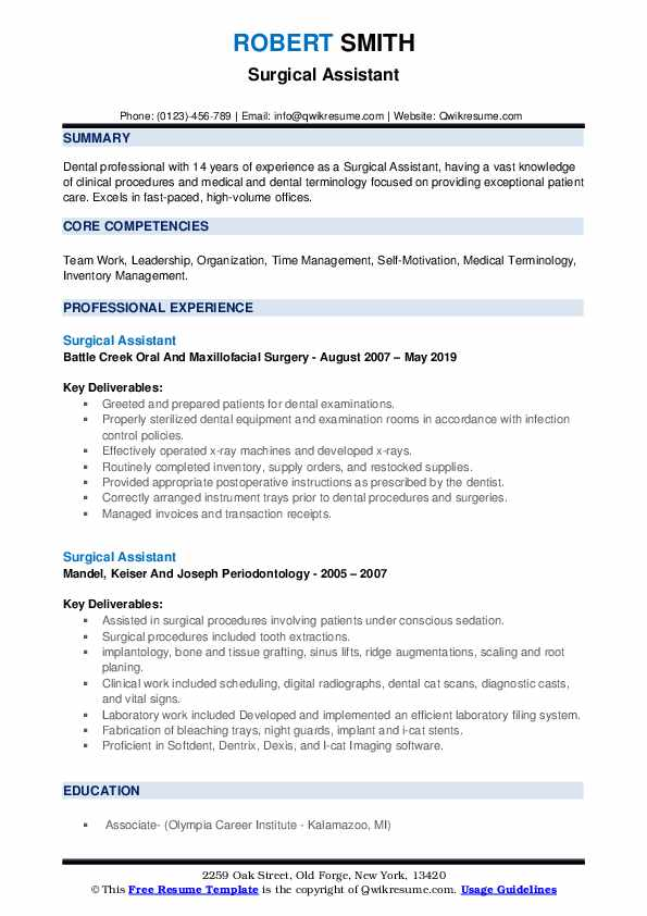 Surgical Assistant Resume example