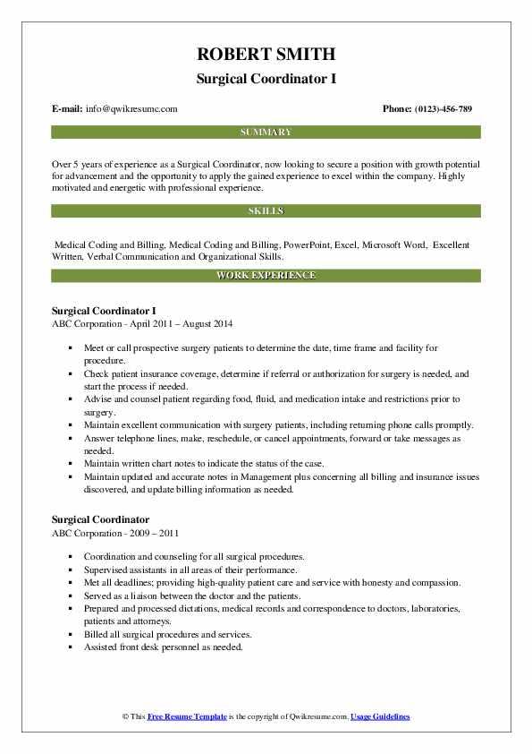 Surgical Coordinator I Resume Sample