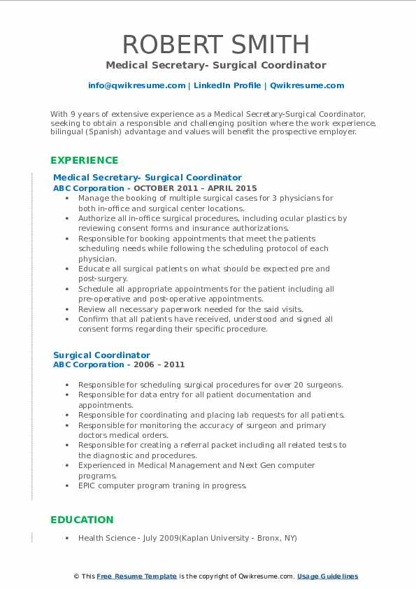 Medical Secretary- Surgical Coordinator Resume Format