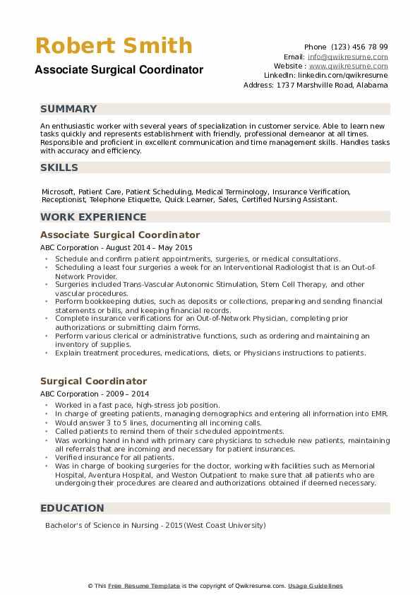 Associate Surgical Coordinator Resume Sample