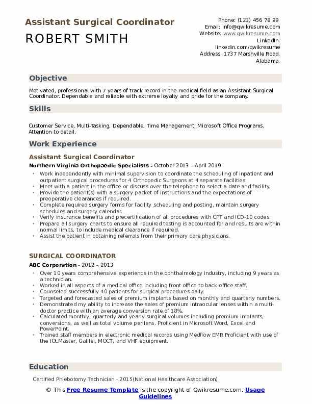 Assistant Surgical Coordinator Resume Format