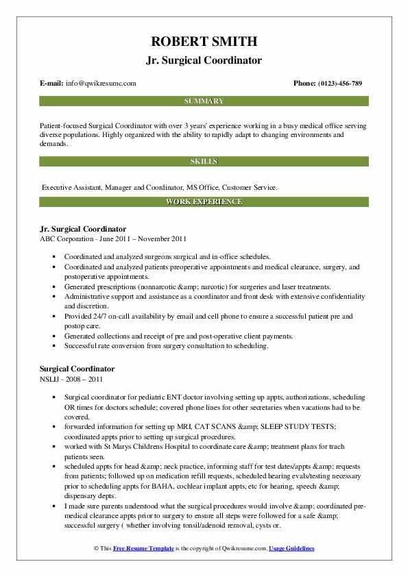 Jr. Surgical Coordinator Resume Sample