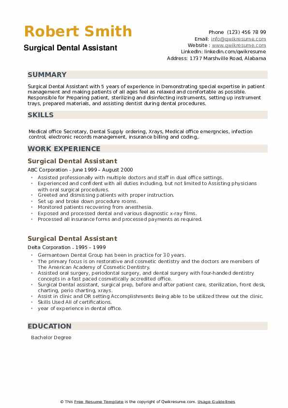 Surgical Dental Assistant Resume example