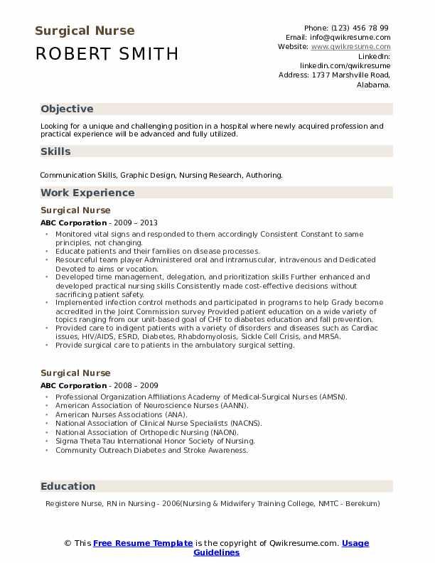 Medical Surgical Nurse Resume  Tutoreorg - Master Of -4117