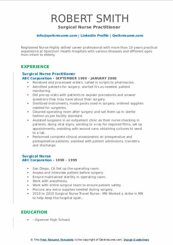 Surgical Nurse Resume Samples Qwikresume