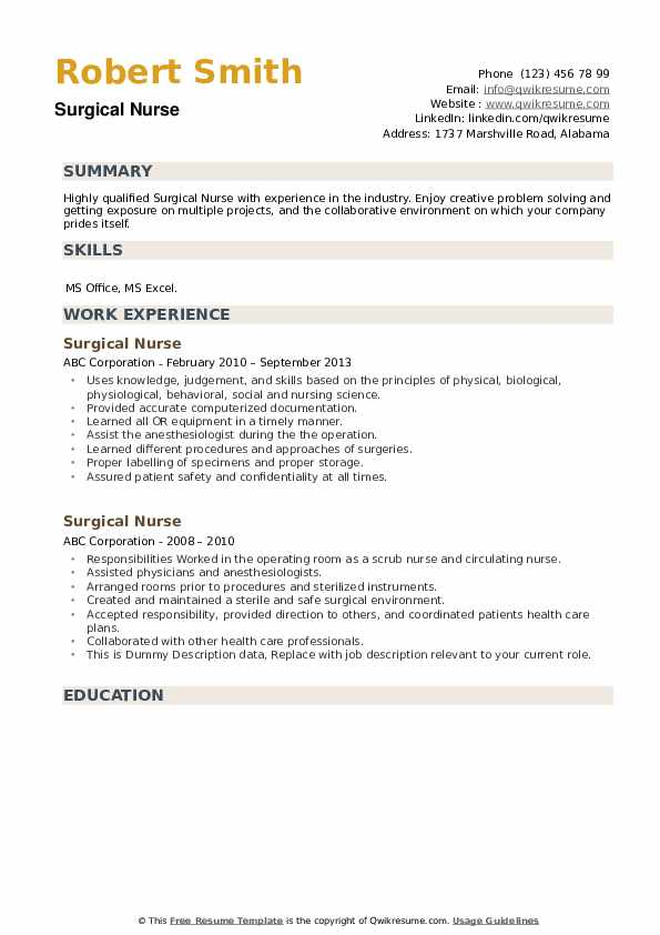 Surgical Nurse Resume example