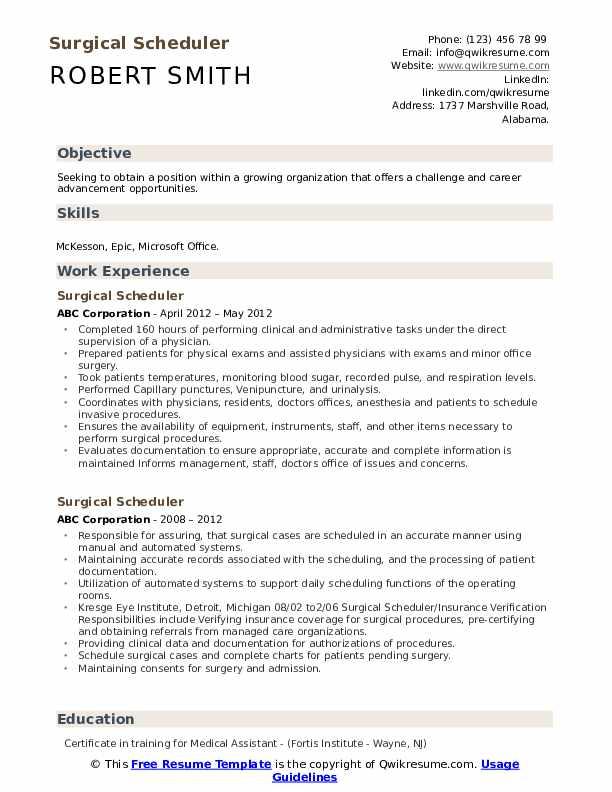 surgical scheduler resume samples  qwikresume