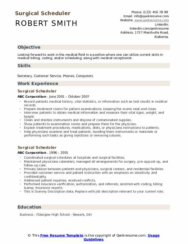 Surgical Scheduler Resume example