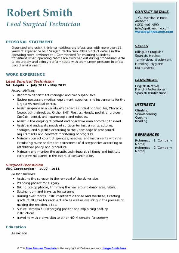 surgical technician resume samples  qwikresume