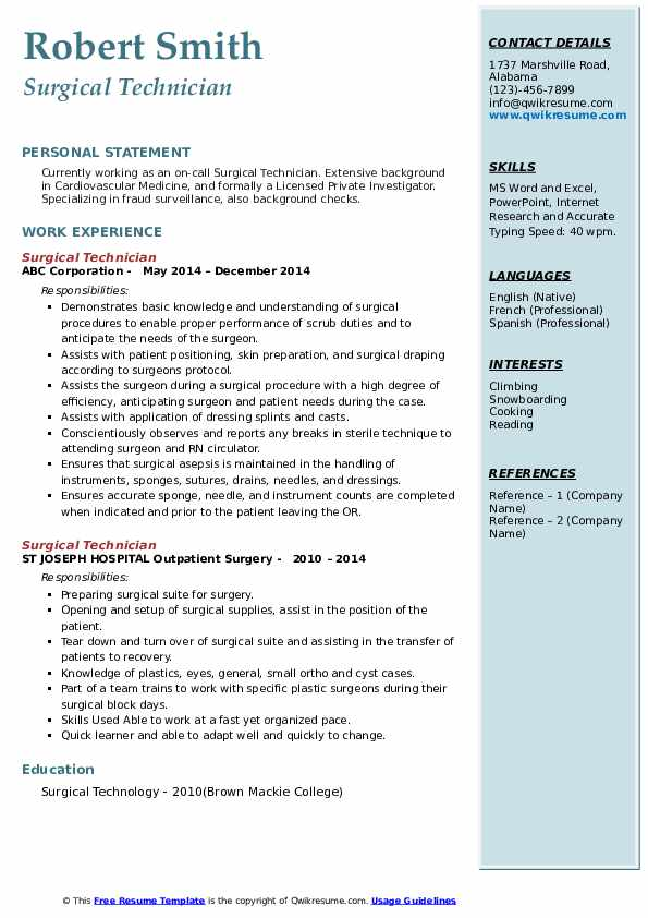 Surgical Technician Resume example
