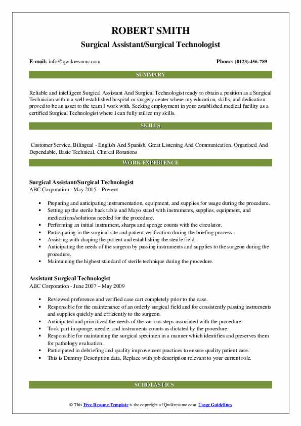 Surgical Assistant/Surgical Technologist Resume Example