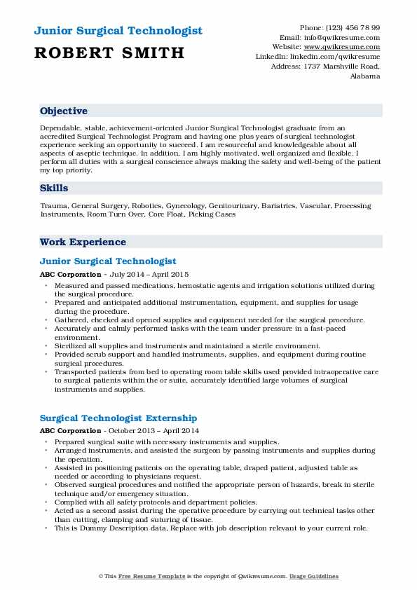 Junior Surgical Technologist Resume Model