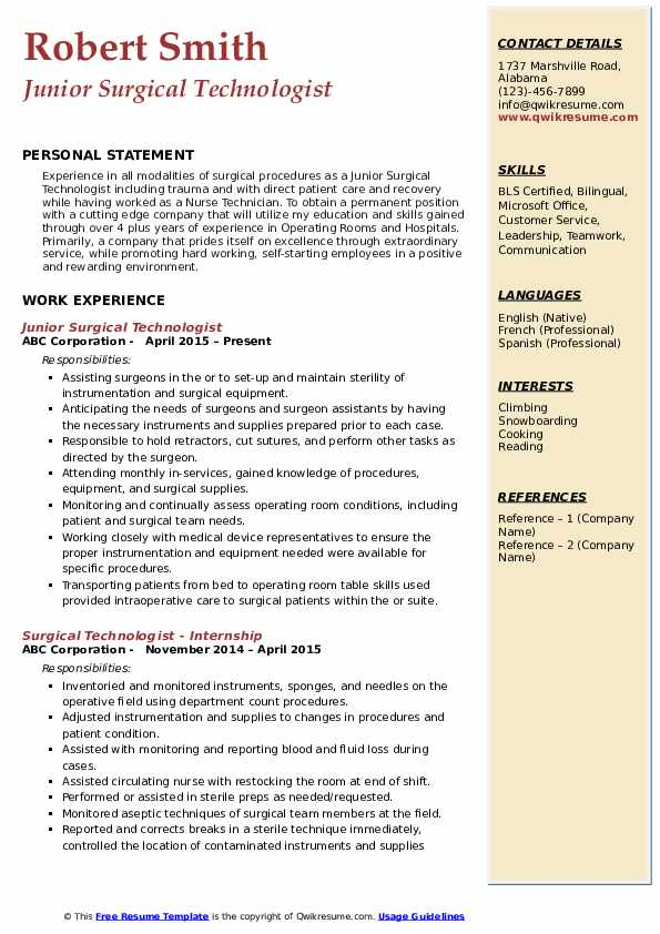 Junior Surgical Technologist Resume Format