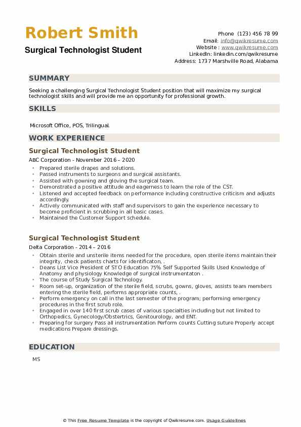 Surgical Technologist Student Resume example