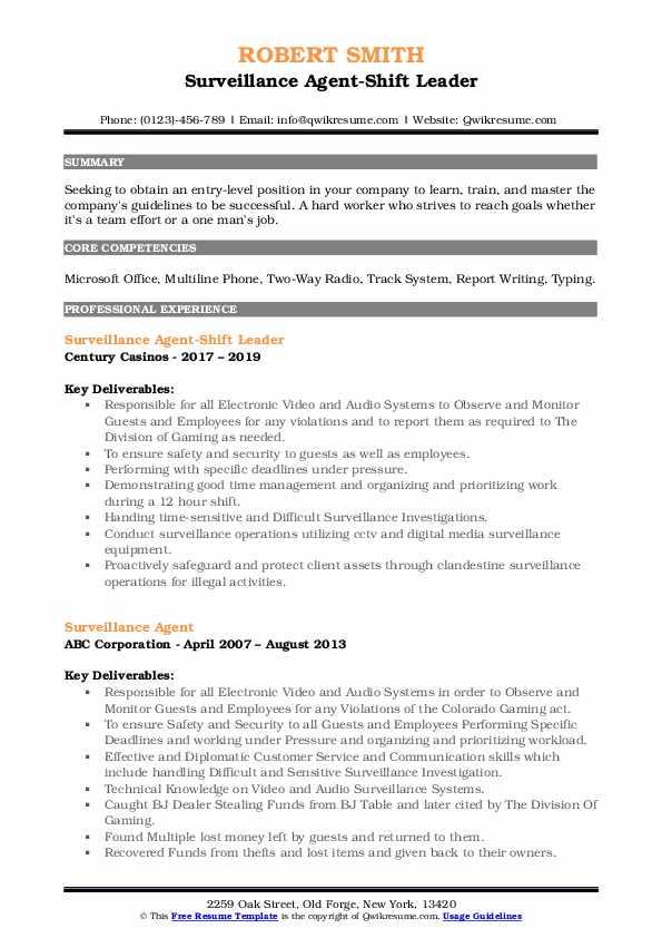 Surveillance Agent-Shift Leader Resume Model