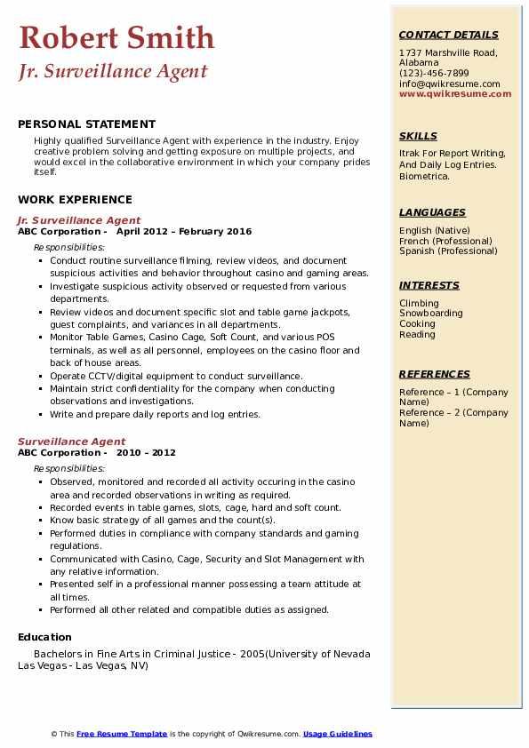 Jr. Surveillance Agent Resume Sample