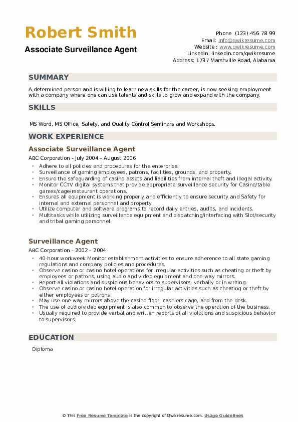 Associate Surveillance Agent Resume Format