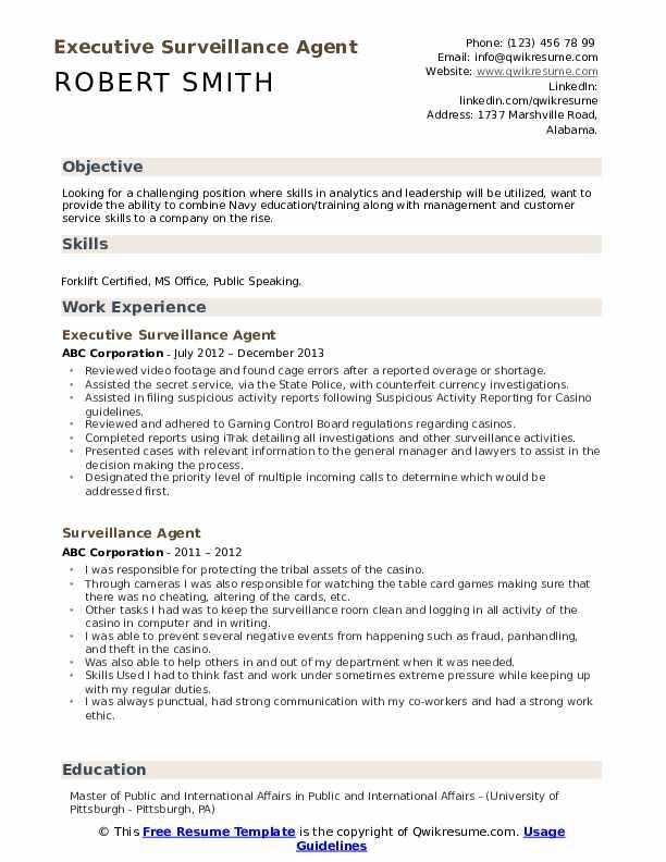 Executive Surveillance Agent Resume Template