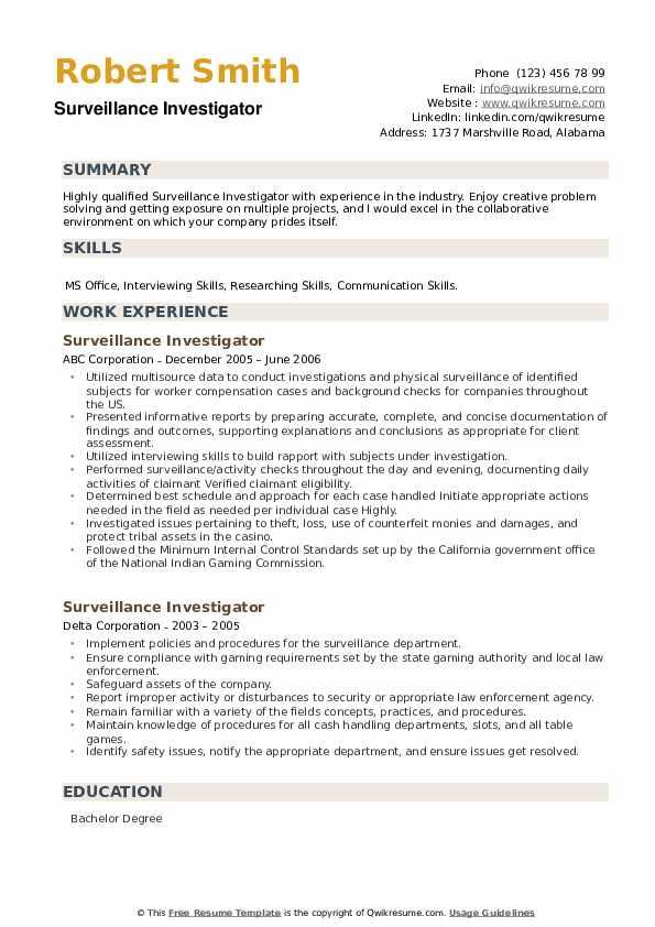 Surveillance Investigator Resume example