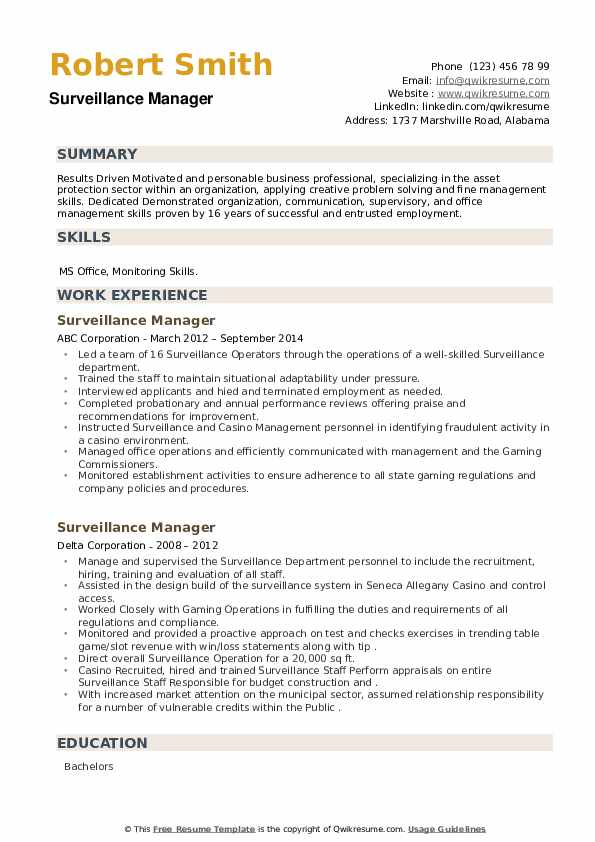Surveillance Manager Resume example