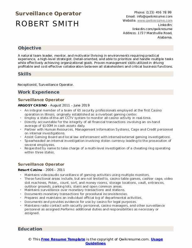 Surveillance Operator Resume Template