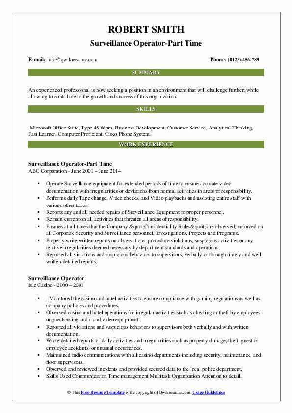 Surveillance Operator-Part Time Resume Sample