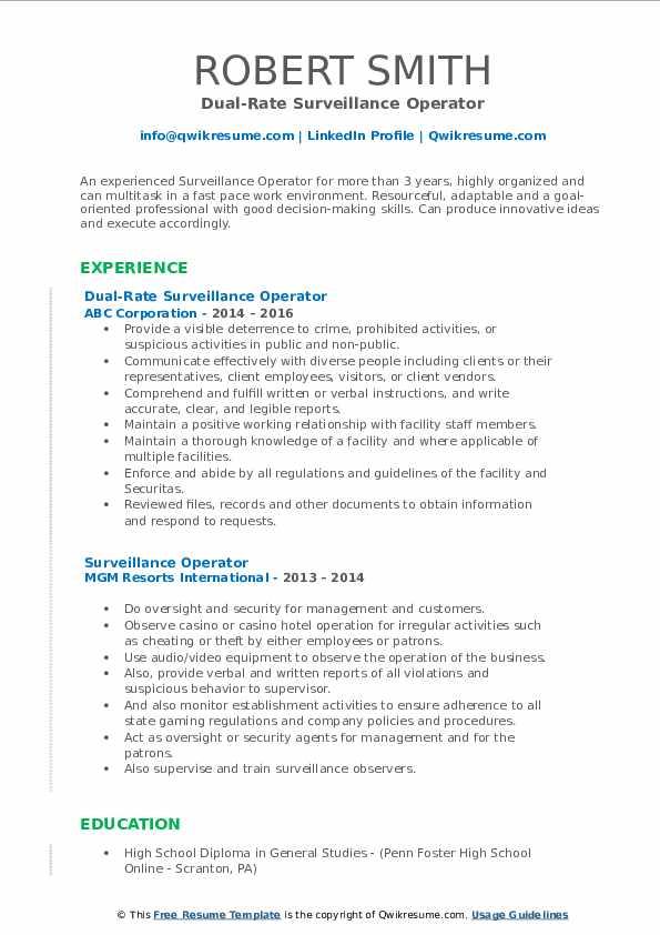 Dual-Rate Surveillance Operator Resume Example