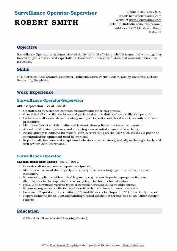 Surveillance Operator-Supervisor Resume Template